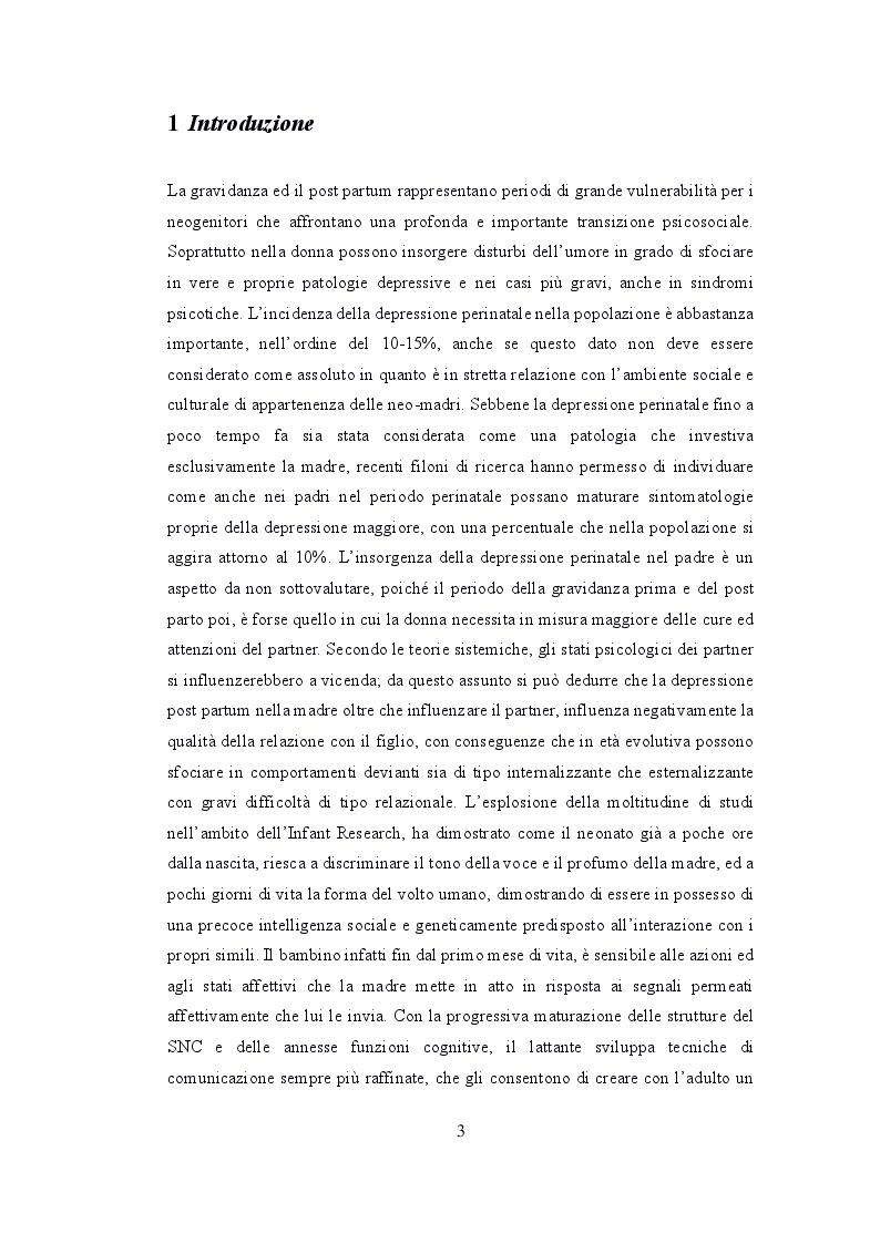 Anteprima della tesi: Depressione post partum materna e paterna : esiti sullo sviluppo emotivo-adattivo del bambino., Pagina 2