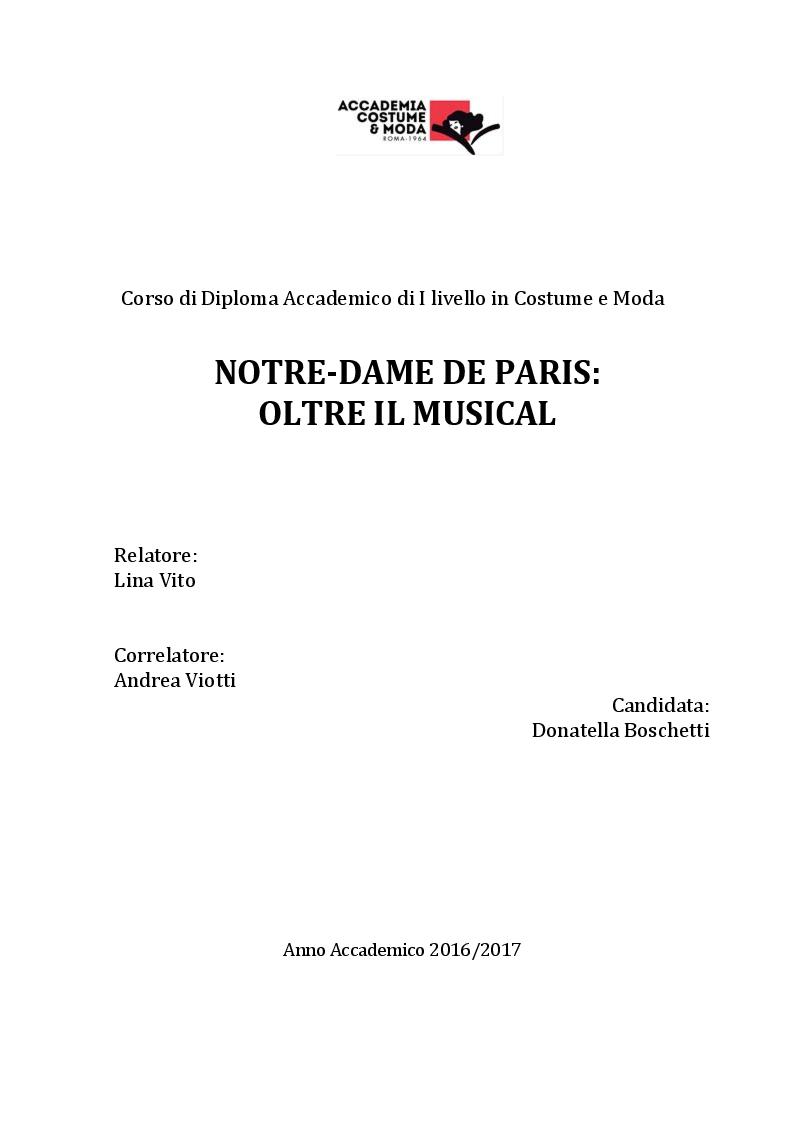 Anteprima della tesi: Notre-Dame de Paris: oltre il musical, Pagina 1