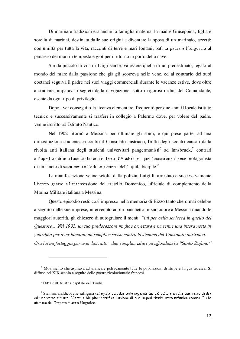 """Estratto dalla tesi: """"La Grande Guerra: la vita e le imprese dell'Ammiraglio Luigi Rizzo''"""