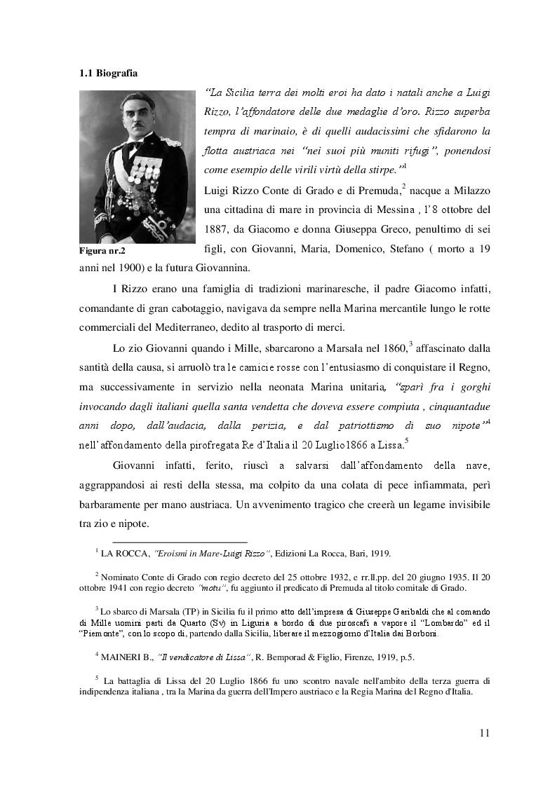 """Anteprima della tesi: """"La Grande Guerra: la vita e le imprese dell'Ammiraglio Luigi Rizzo'', Pagina 6"""