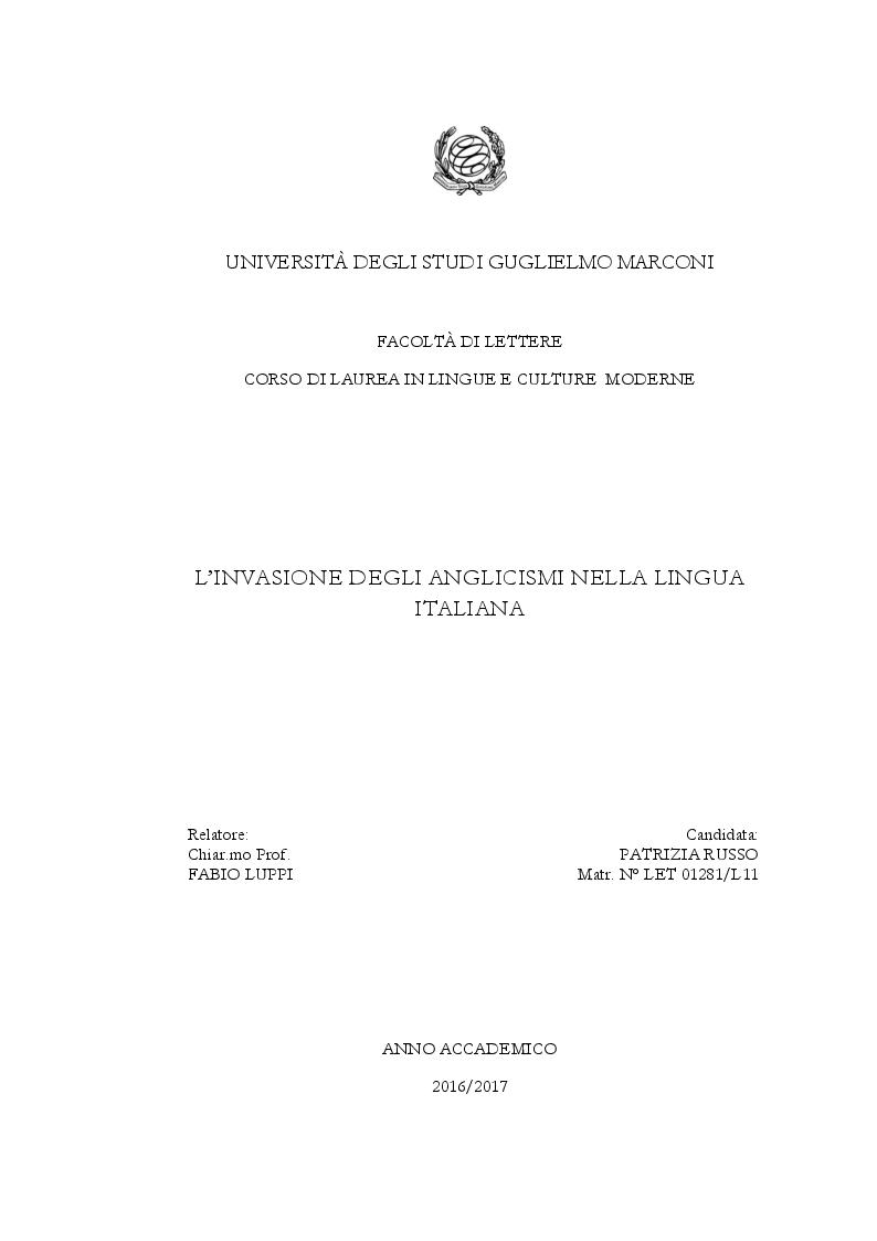 Anteprima della tesi: Gli anglicismi nella lingua italiana, Pagina 1