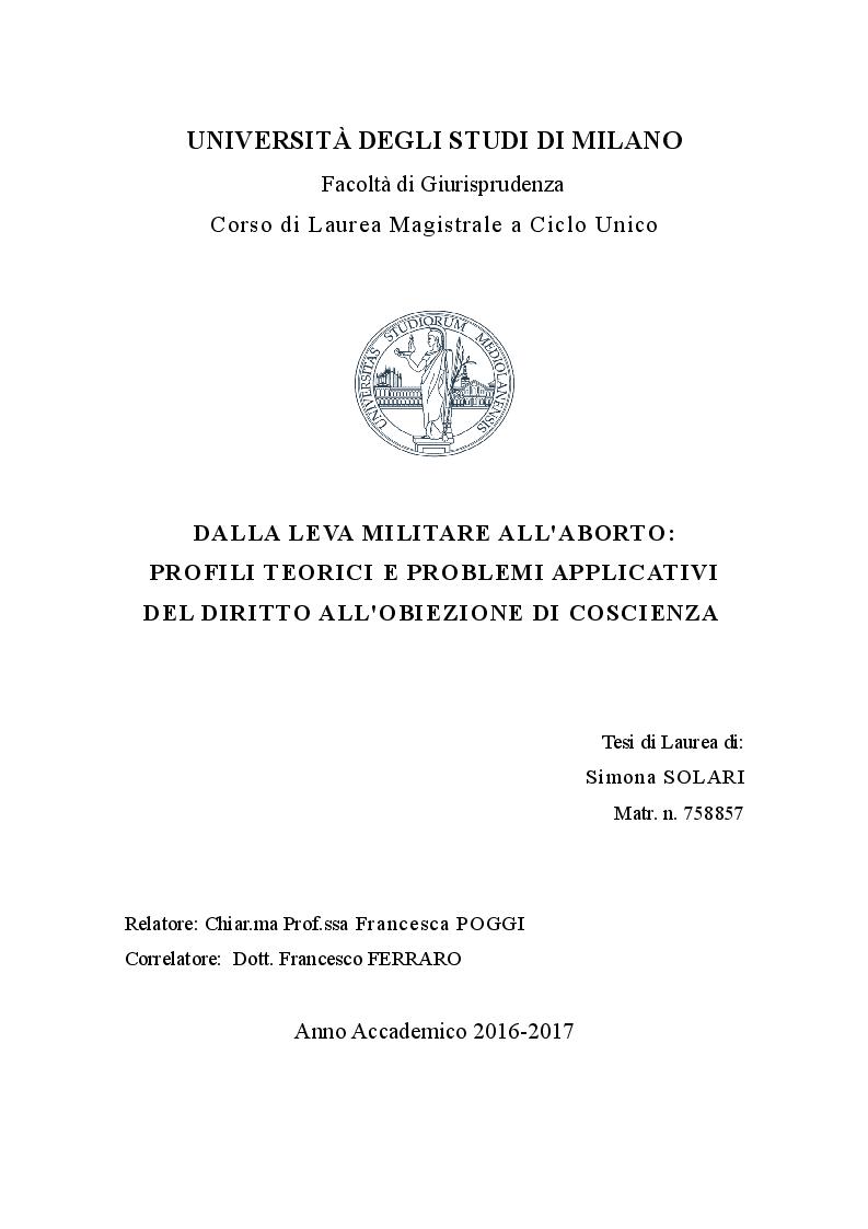 Anteprima della tesi: Dalla leva militare all'aborto. Profili teorici e problemi applicativi del diritto l'obiezione di coscienza, Pagina 1