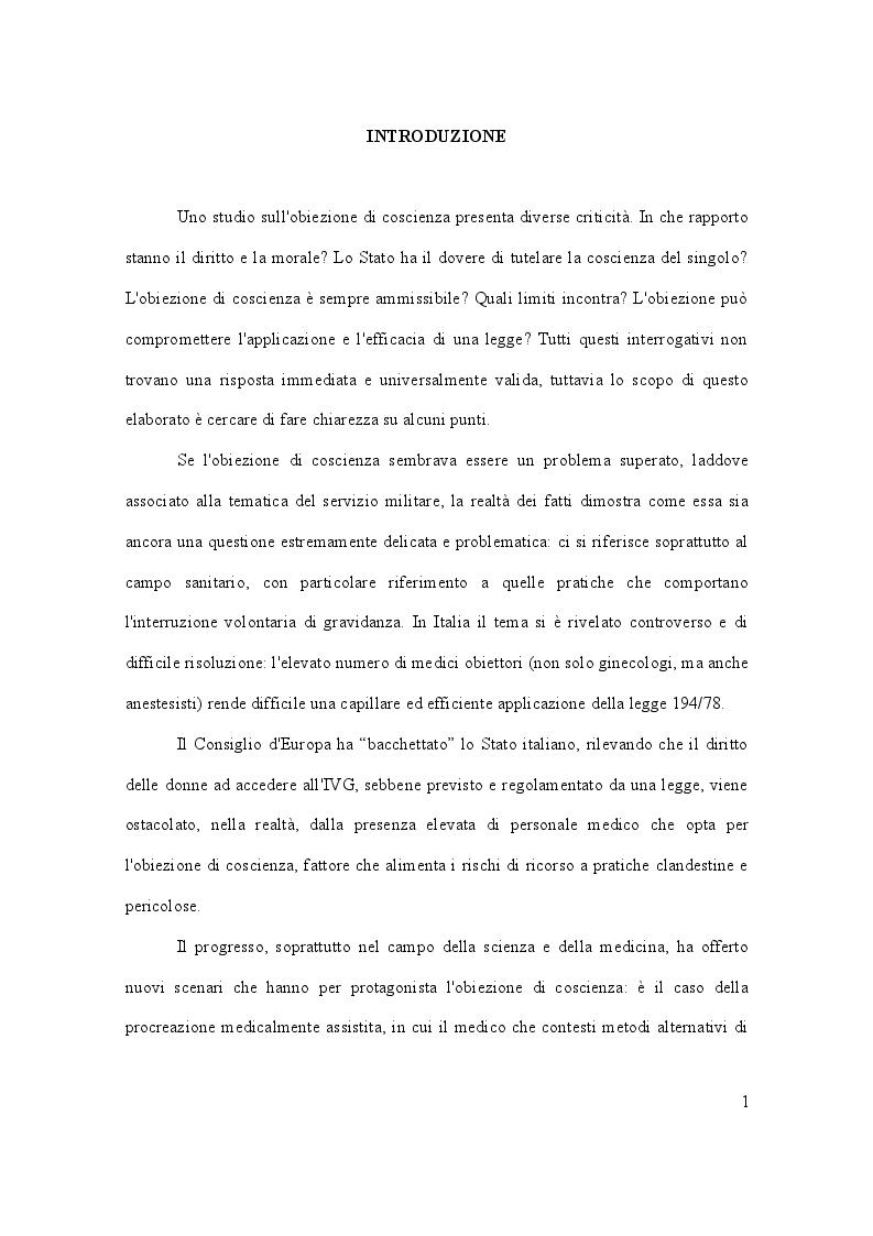 Anteprima della tesi: Dalla leva militare all'aborto. Profili teorici e problemi applicativi del diritto l'obiezione di coscienza, Pagina 2
