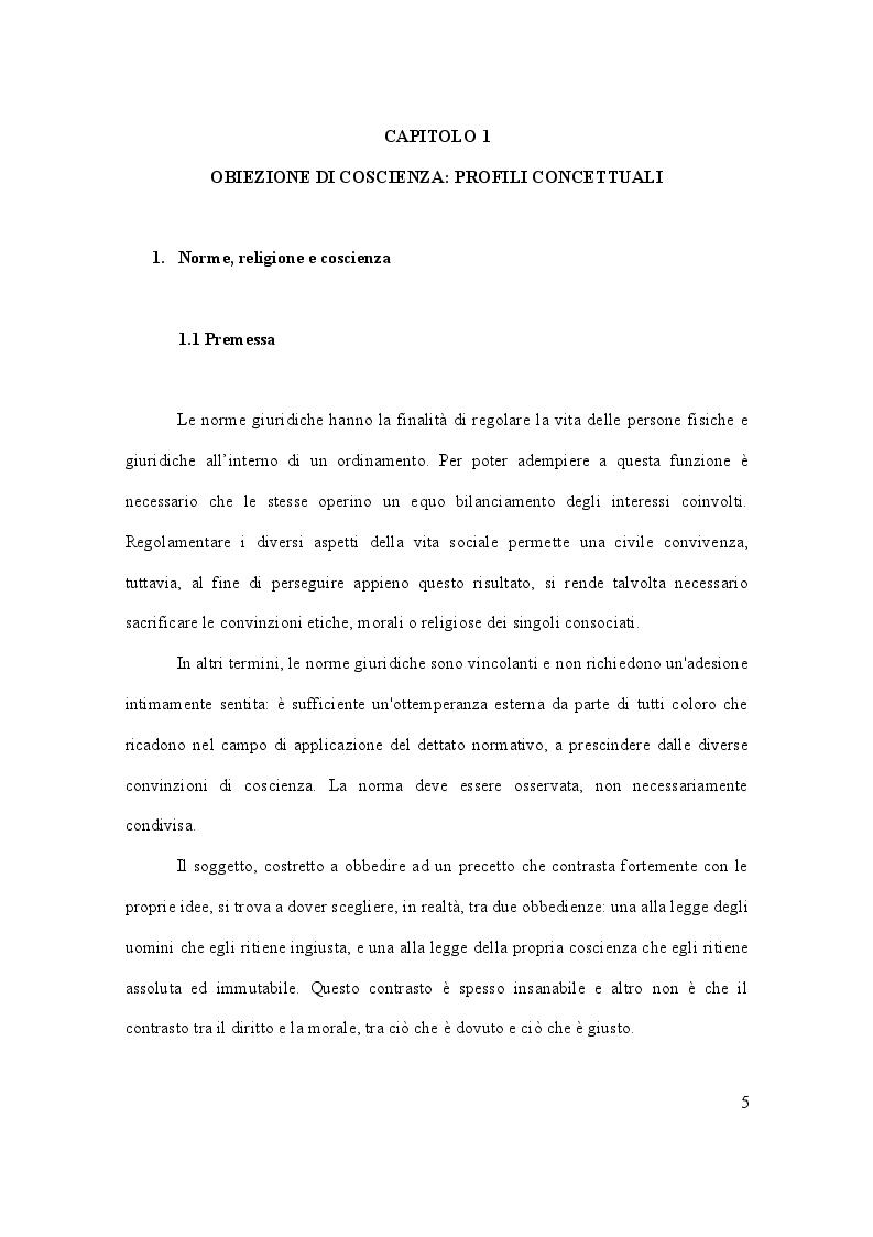 Anteprima della tesi: Dalla leva militare all'aborto. Profili teorici e problemi applicativi del diritto l'obiezione di coscienza, Pagina 6