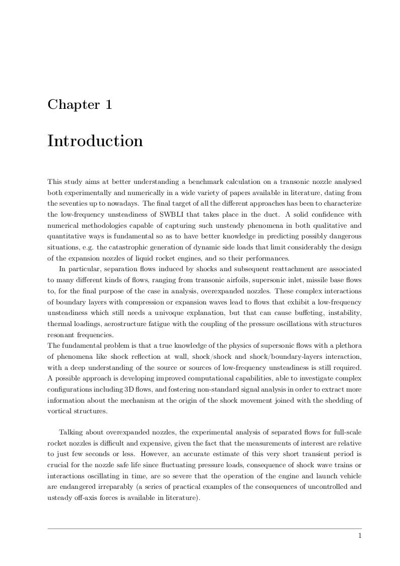 Anteprima della tesi: Detached-Eddy Simulation of Shock Wave/Boundary-Layer Interactions in a Planar Transonic Nozzle, Pagina 2