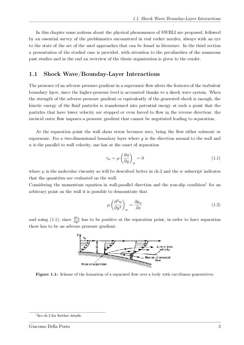 Anteprima della tesi: Detached-Eddy Simulation of Shock Wave/Boundary-Layer Interactions in a Planar Transonic Nozzle, Pagina 3