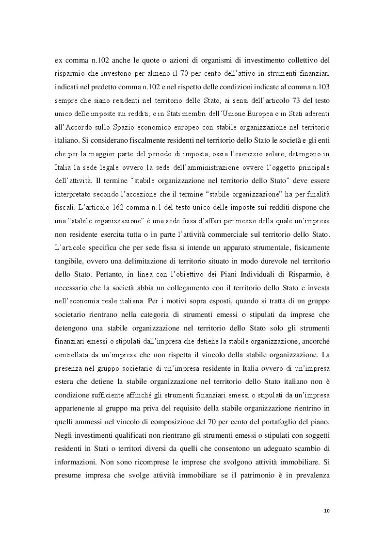 Estratto dalla tesi: I Piani Individuali di Risparmio (PIR) : profili normativi, operativi e finanziari