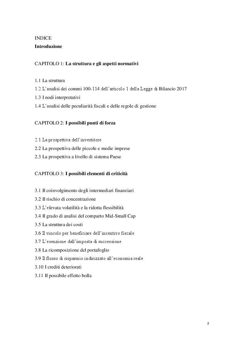 Indice della tesi: I Piani Individuali di Risparmio (PIR) : profili normativi, operativi e finanziari, Pagina 1