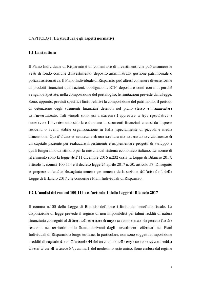 Anteprima della tesi: I Piani Individuali di Risparmio (PIR) : profili normativi, operativi e finanziari, Pagina 2