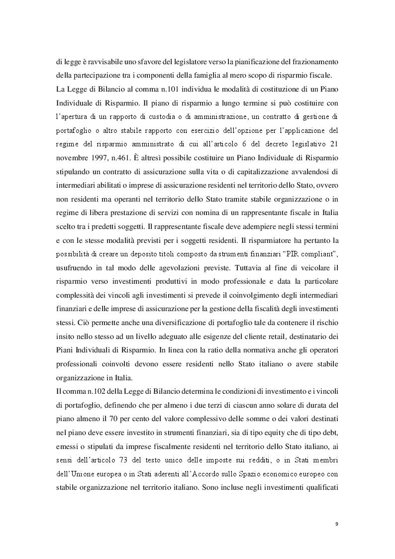 Anteprima della tesi: I Piani Individuali di Risparmio (PIR) : profili normativi, operativi e finanziari, Pagina 4
