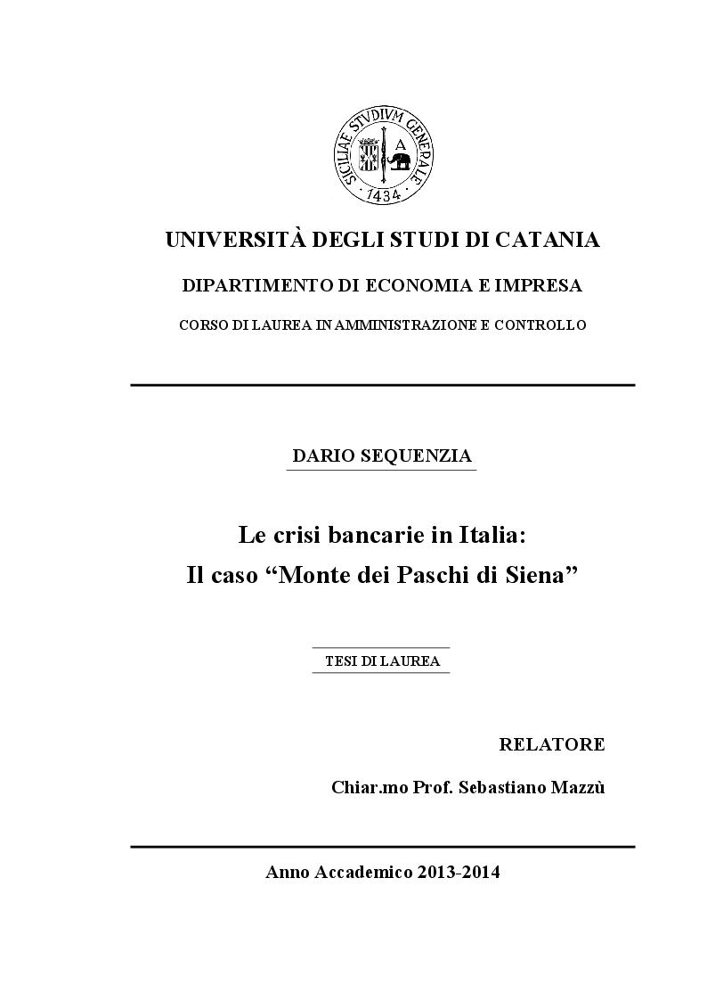 Anteprima della tesi: Le crisi bancarie in Italia - Il caso Monte dei Paschi di Siena, Pagina 1