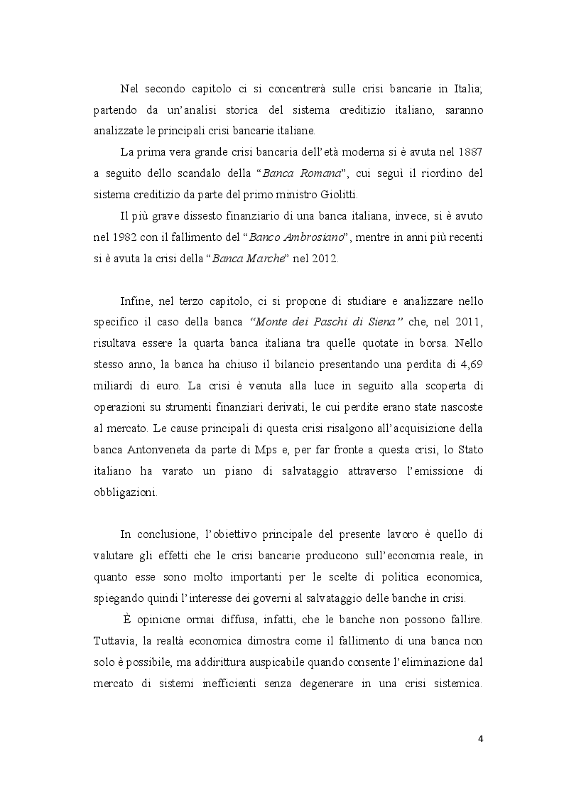 Anteprima della tesi: Le crisi bancarie in Italia - Il caso Monte dei Paschi di Siena, Pagina 4