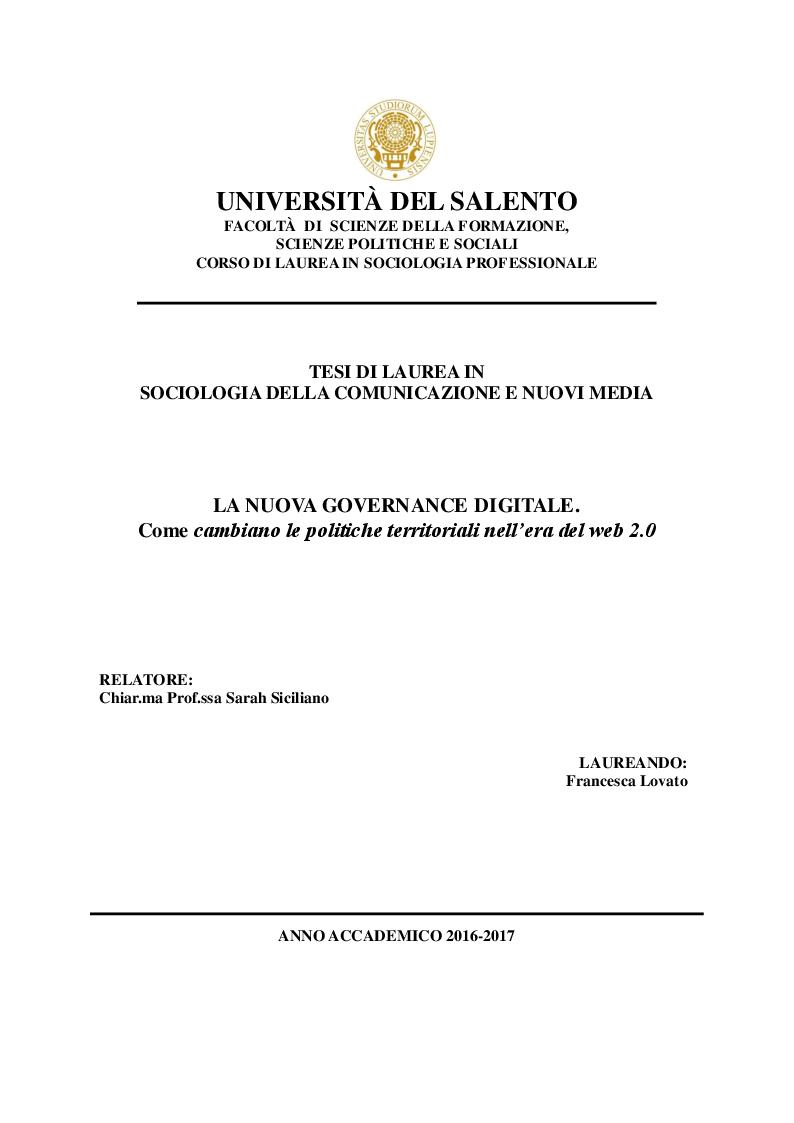 Anteprima della tesi: La nuova governance digitale. Come cambiano le politiche territoriali nell'era del web 2.0., Pagina 1