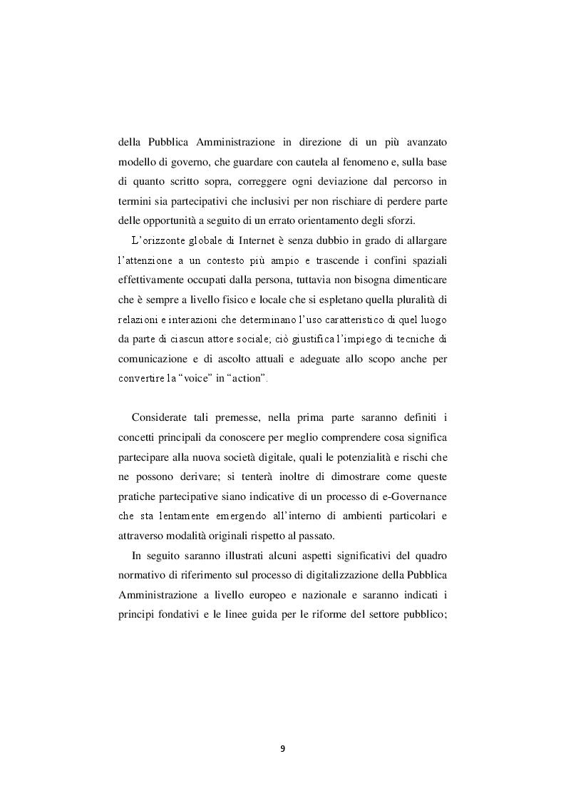 Anteprima della tesi: La nuova governance digitale. Come cambiano le politiche territoriali nell'era del web 2.0., Pagina 8
