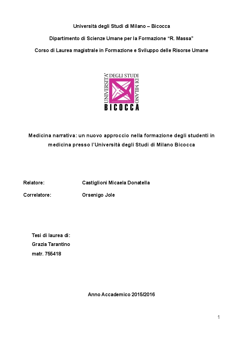 Anteprima della tesi: Medicina narrativa: un nuovo approccio nella formazione degli studenti in medicina presso l'Università degli studi di Milano Bicocca, Pagina 1