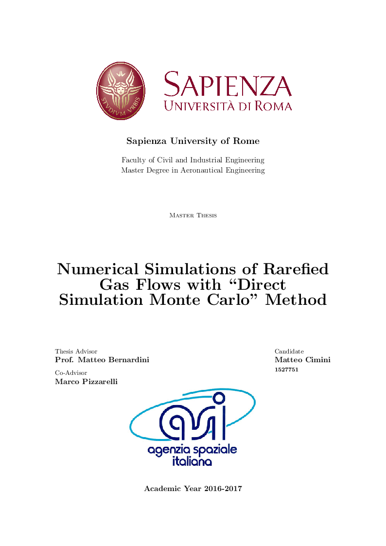 Anteprima della tesi: Numerical Simulations of Rarefied Gas Flow with ''Direct Simulation Monte Carlo'' Method, Pagina 1