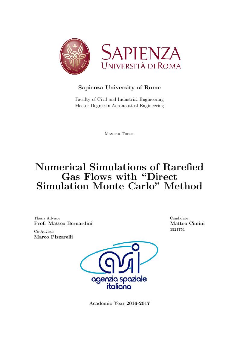 Anteprima della tesi: Numerical Simulations of Rarefied Gas Flow with ''Direct Simulation Monte Carlo'' Method, Pagina 1