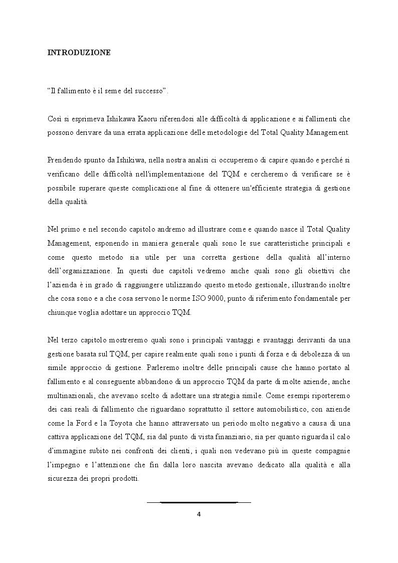 Anteprima della tesi: Come superare le difficoltà ed evitare i fallimenti nell'applicazione del TQM, Pagina 2