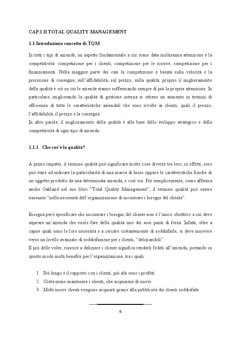 Anteprima della tesi: Come superare le difficoltà ed evitare i fallimenti nell'applicazione del TQM, Pagina 4