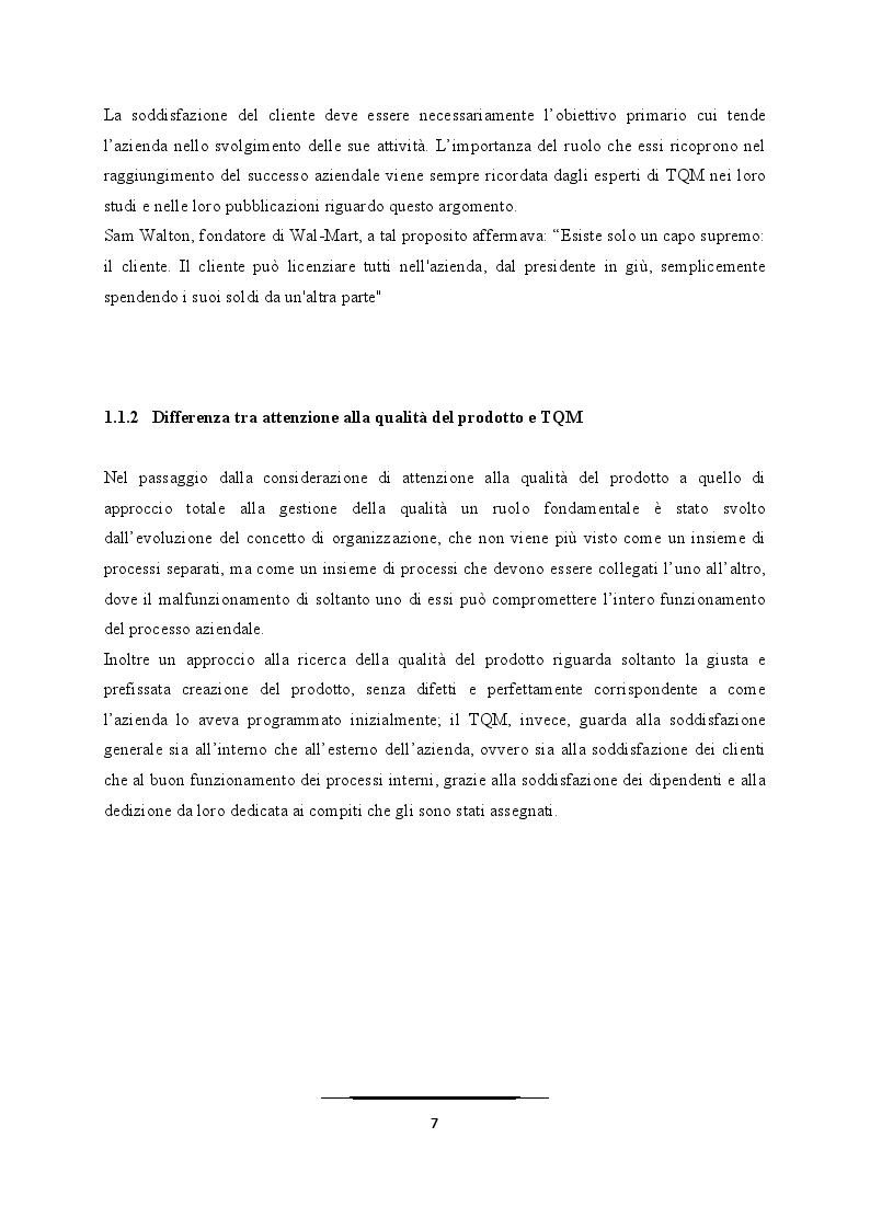 Anteprima della tesi: Come superare le difficoltà ed evitare i fallimenti nell'applicazione del TQM, Pagina 5
