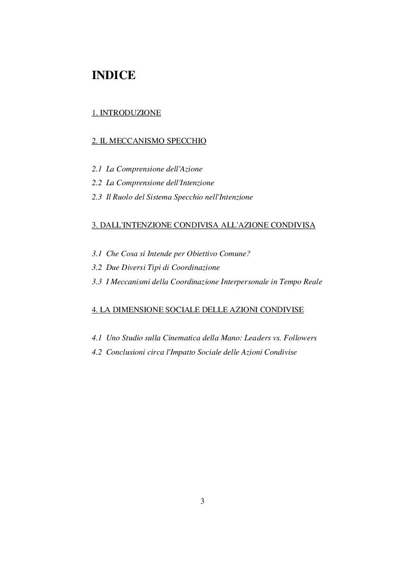 Indice della tesi: I meccanismi sottesi alle azioni condivise e la loro importanza nella socialità, Pagina 1