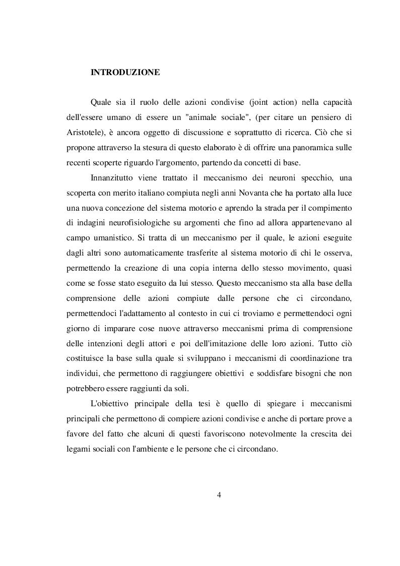 Anteprima della tesi: I meccanismi sottesi alle azioni condivise e la loro importanza nella socialità, Pagina 2
