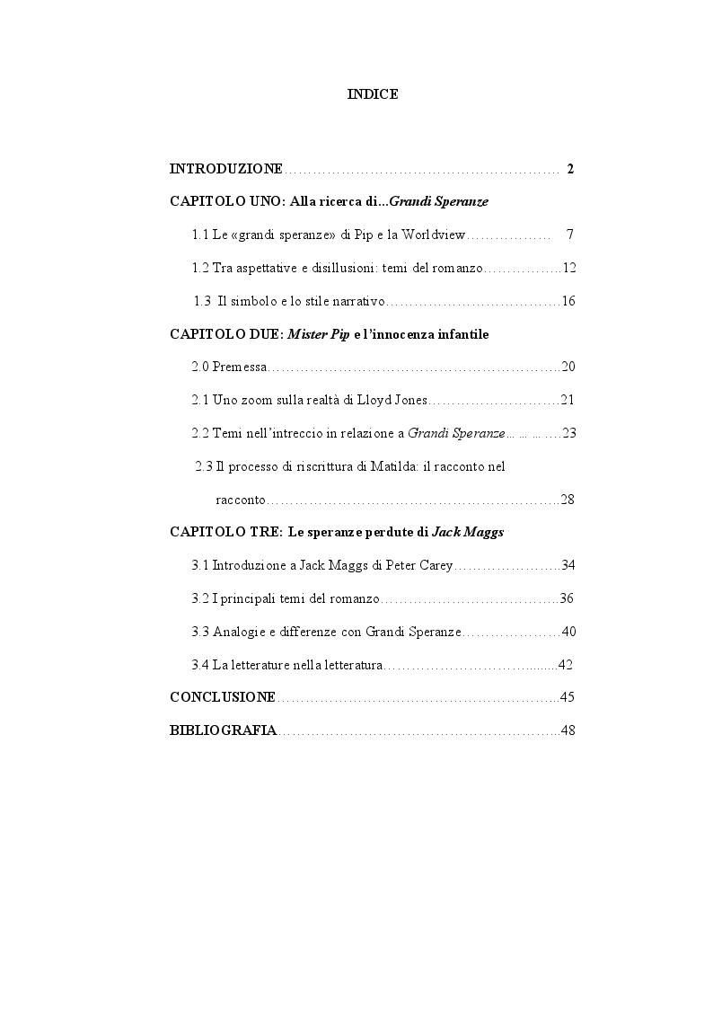 """Indice della tesi: Le riscritture del romanzo di """"Dickens Grandi Speranze: Mister Pip e Jack Maggs"""", Pagina 1"""