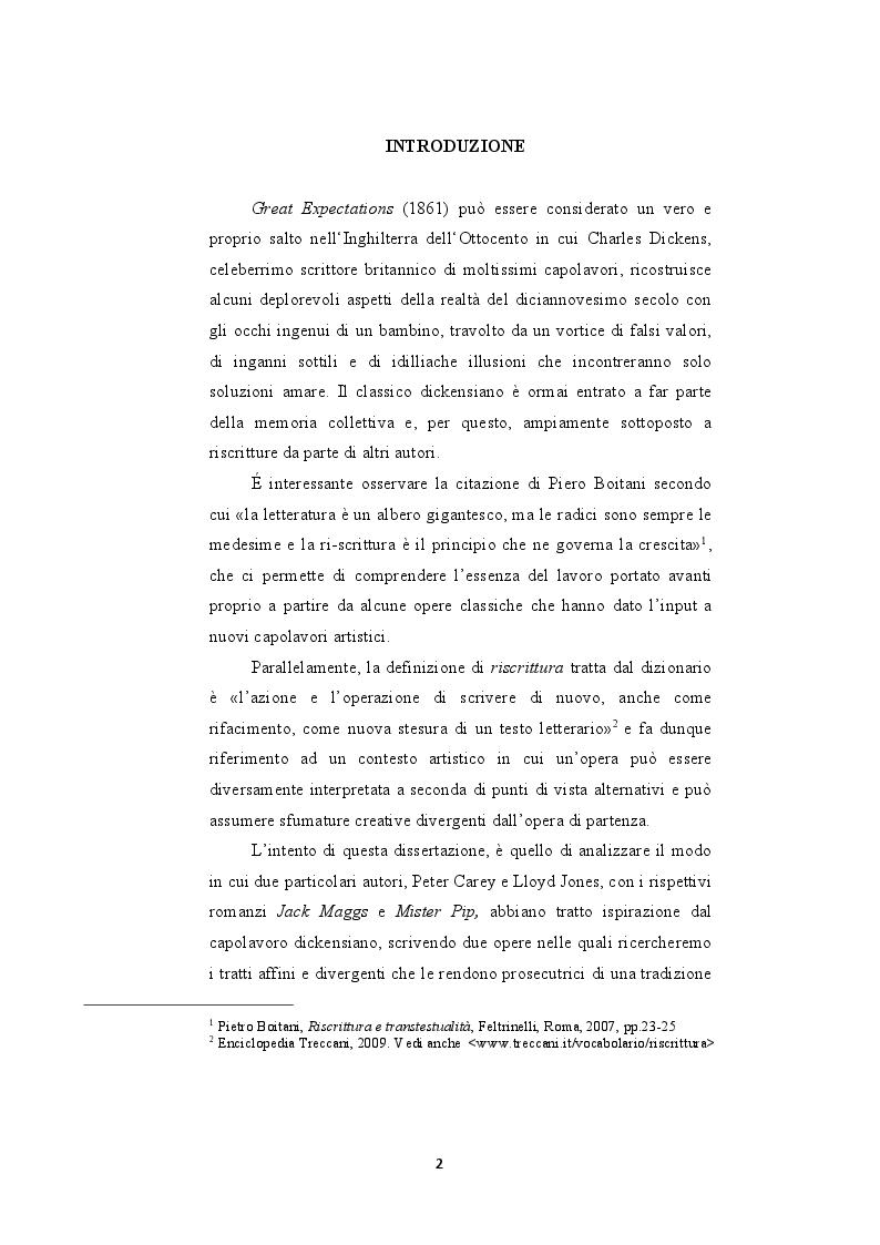 """Anteprima della tesi: Le riscritture del romanzo di """"Dickens Grandi Speranze: Mister Pip e Jack Maggs"""", Pagina 2"""