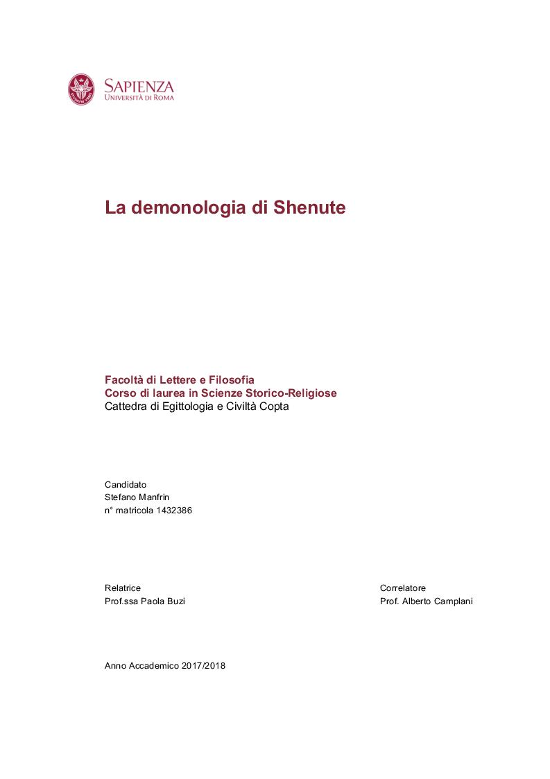 Anteprima della tesi: La demonologia di Shenute, Pagina 1