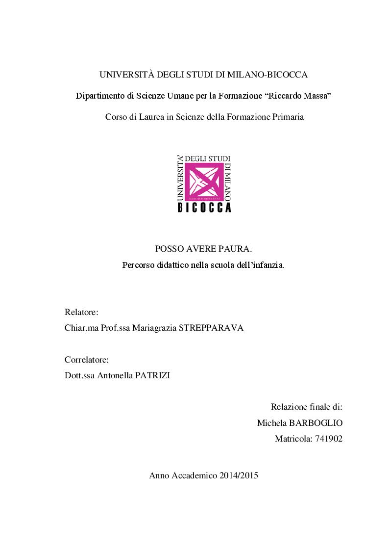 Anteprima della tesi: POSSO AVERE PAURA. Percorso didattico nella scuola dell'infanzia, Pagina 1