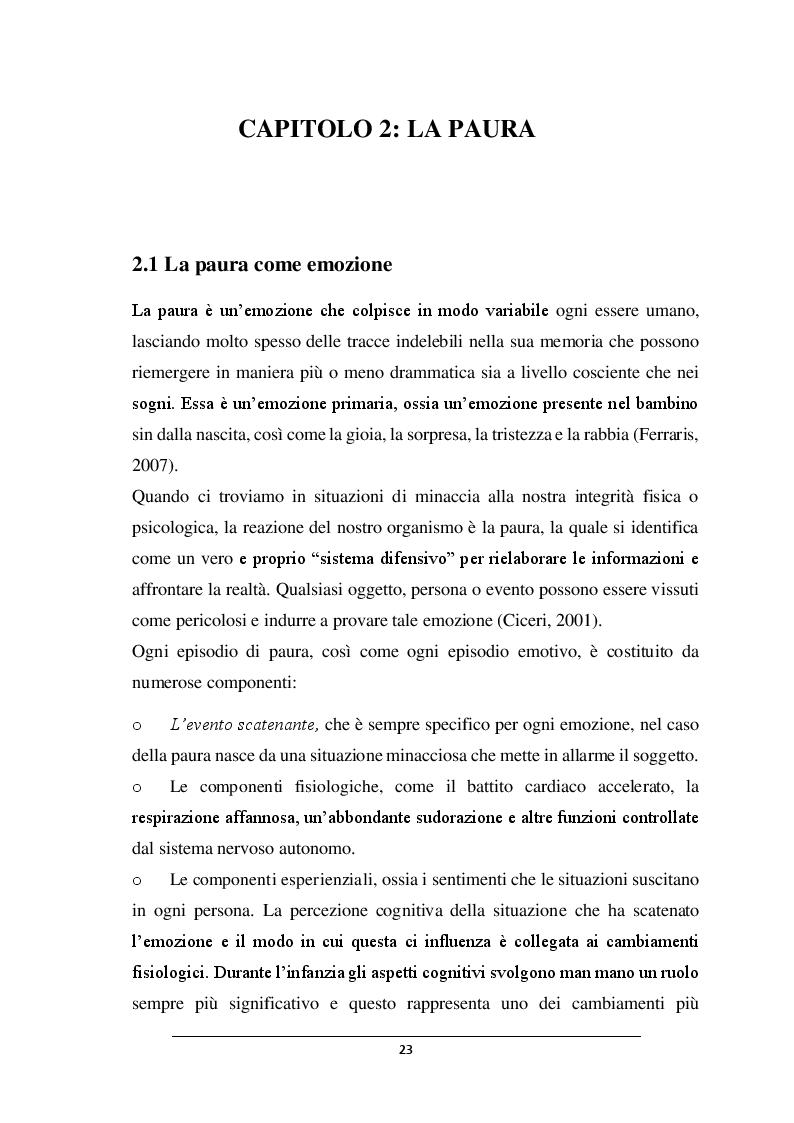 Anteprima della tesi: POSSO AVERE PAURA. Percorso didattico nella scuola dell'infanzia, Pagina 2