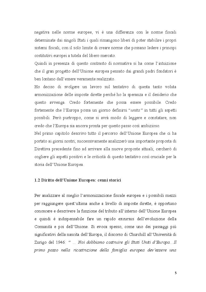 Anteprima della tesi: Coordinamento ed armonizzazione dell'imposizione societaria in seno all'Unione Europea, Pagina 3