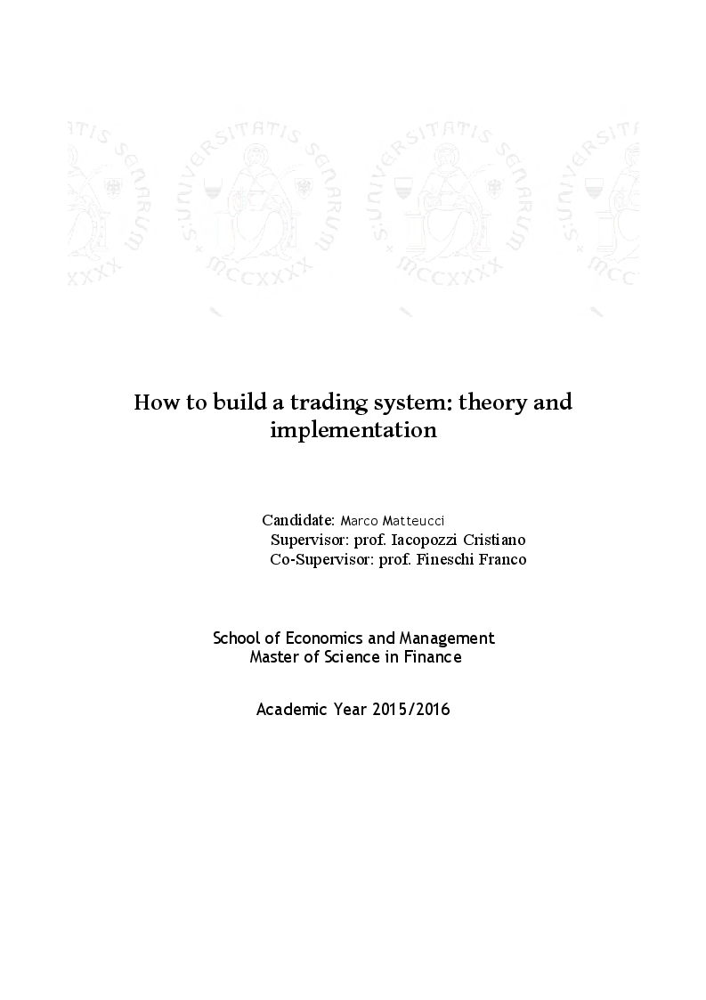 Anteprima della tesi: How to build a trading system: theory and implementation, Pagina 1