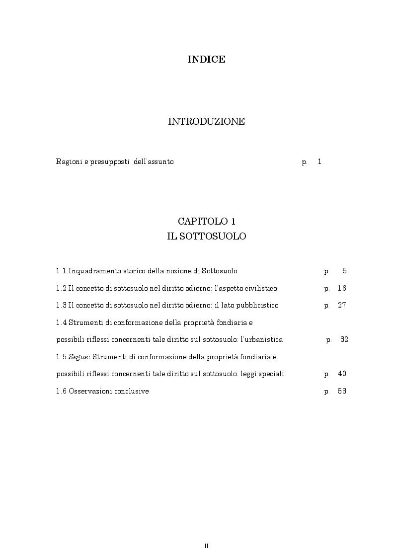 Indice della tesi: Il regime giuridico delle grotte, Pagina 1