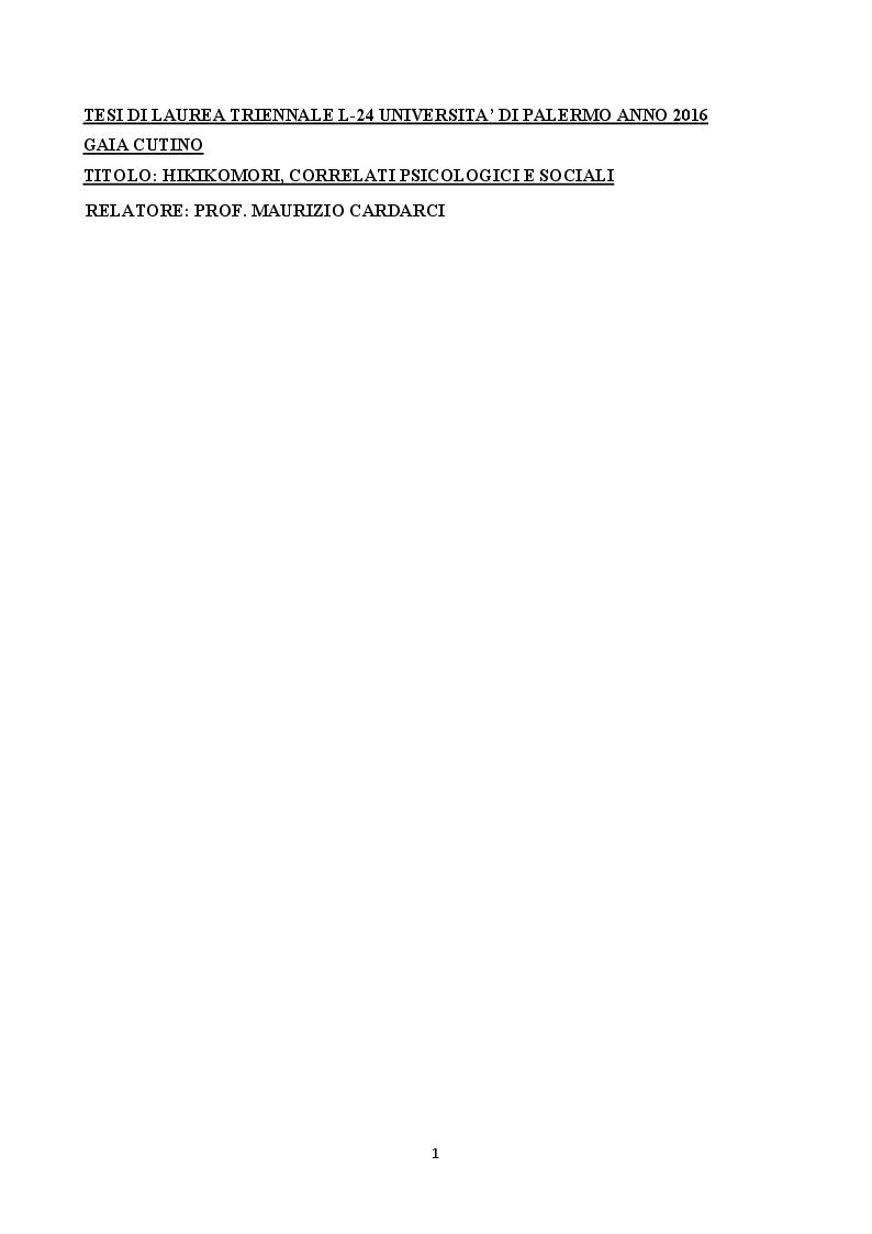 Anteprima della tesi: Hikikomori: correlati psicologici e sociali, Pagina 1