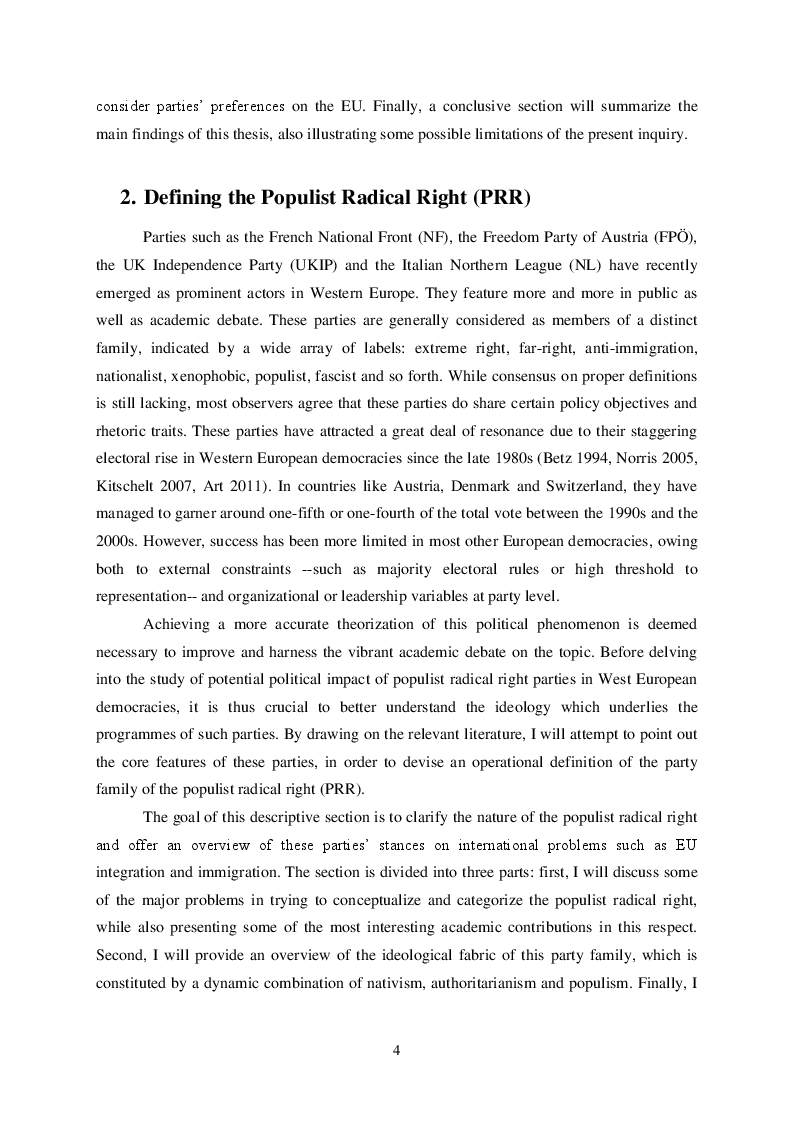 Estratto dalla tesi: The Populist Radical Right in Western Europe: Ideology and Agenda Impact on International Issues
