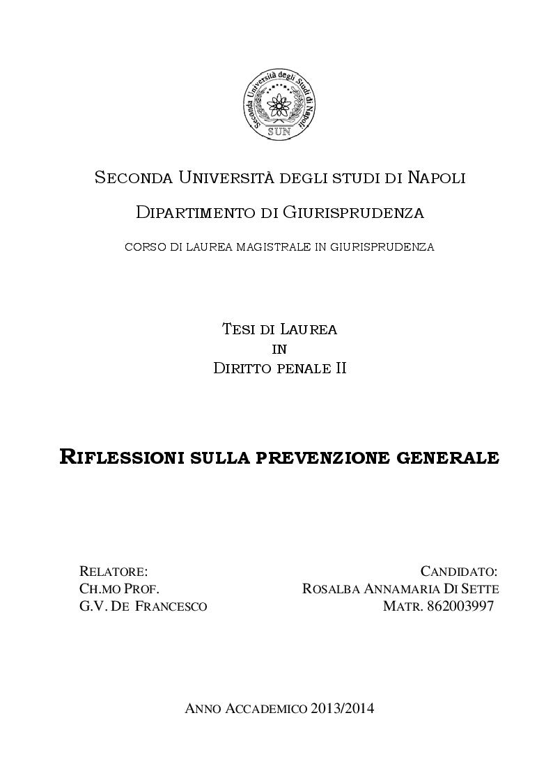 Anteprima della tesi: Riflessioni sulla prevenzione generale, Pagina 1