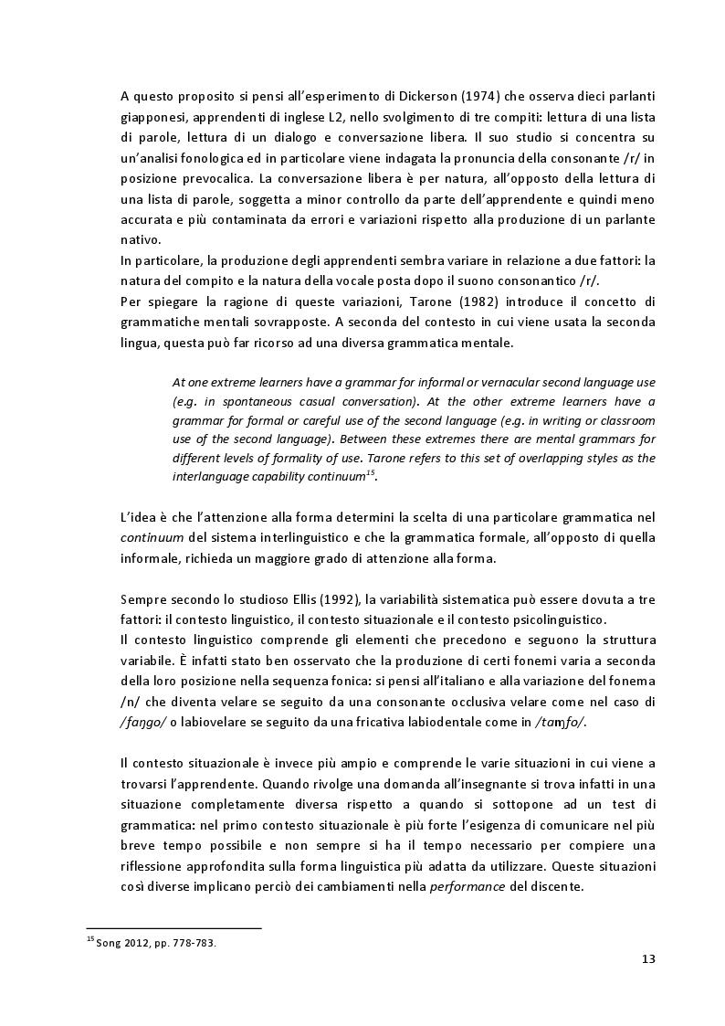 Estratto dalla tesi: Aspetti fonetico-fonologici nel parlato di apprendenti francofoni: dalla ricerca alla proposta didattica in italiano LS