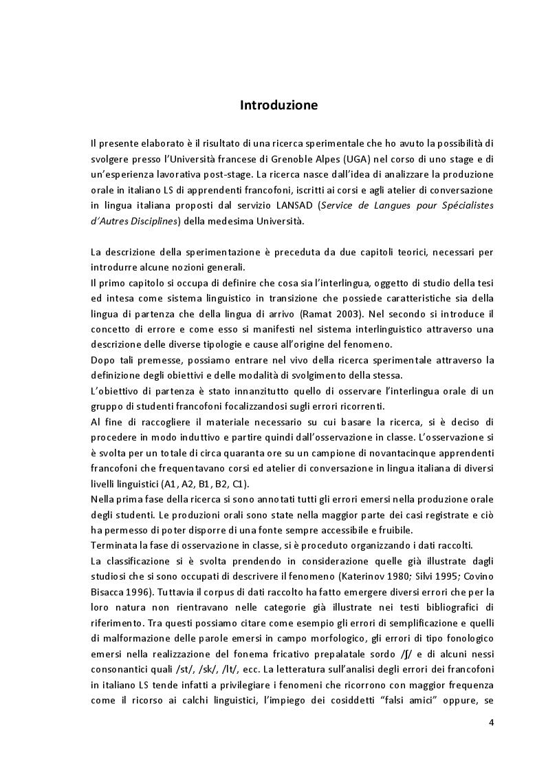 Anteprima della tesi: Aspetti fonetico-fonologici nel parlato di apprendenti francofoni: dalla ricerca alla proposta didattica in italiano LS, Pagina 2