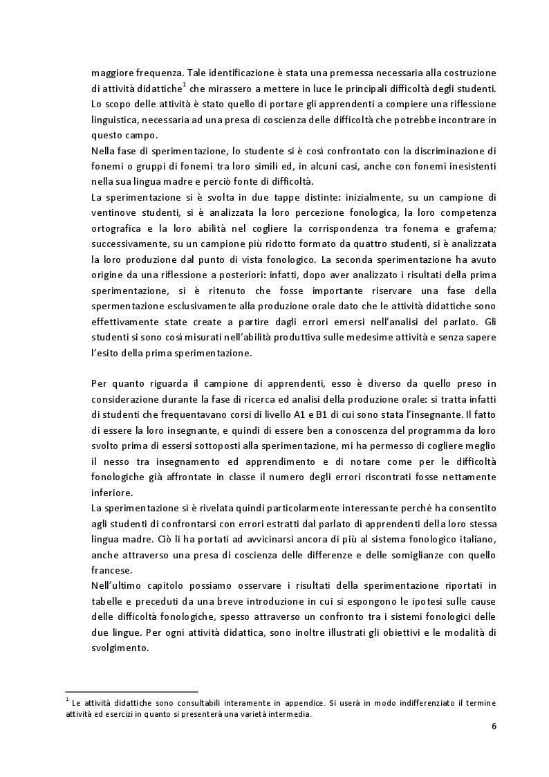 Anteprima della tesi: Aspetti fonetico-fonologici nel parlato di apprendenti francofoni: dalla ricerca alla proposta didattica in italiano LS, Pagina 4