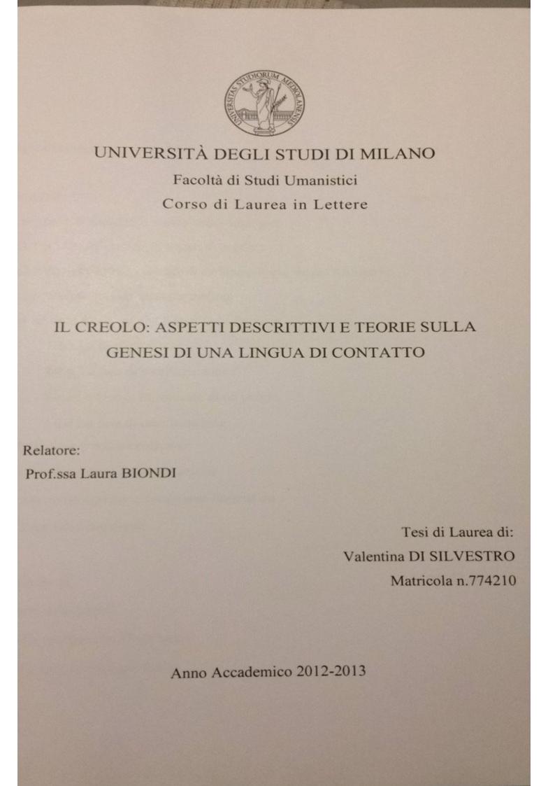 Anteprima della tesi: Il creolo: aspetti descrittivi e teorie sulla genesi di una lingua di contatto, Pagina 1