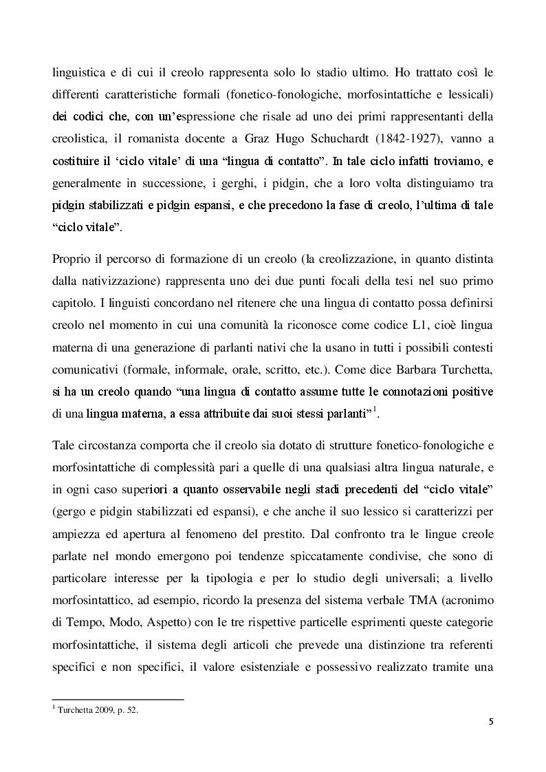 Anteprima della tesi: Il creolo: aspetti descrittivi e teorie sulla genesi di una lingua di contatto, Pagina 3