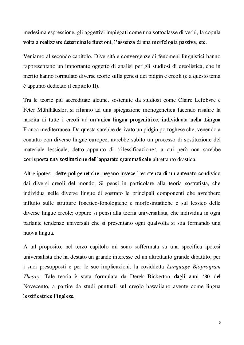 Anteprima della tesi: Il creolo: aspetti descrittivi e teorie sulla genesi di una lingua di contatto, Pagina 4