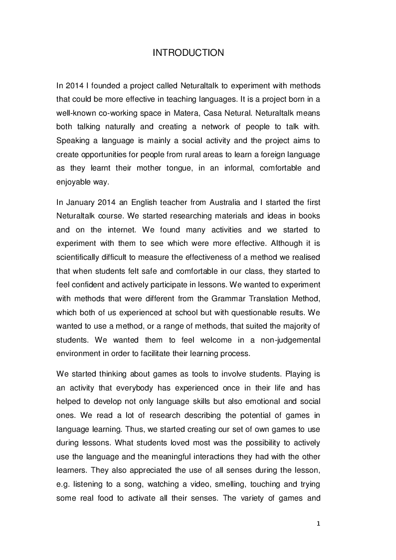 Anteprima della tesi: Comparing Game-based and Grammar-translation methods: the simple present tense in A1-A2 learners of English, Pagina 2