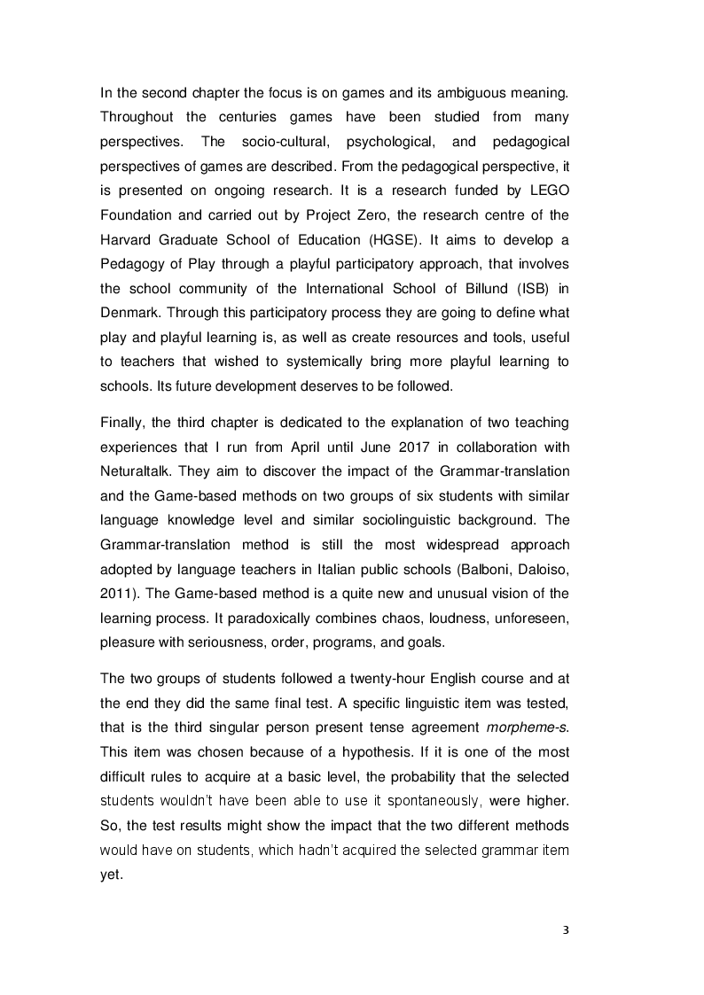 Anteprima della tesi: Comparing Game-based and Grammar-translation methods: the simple present tense in A1-A2 learners of English, Pagina 4