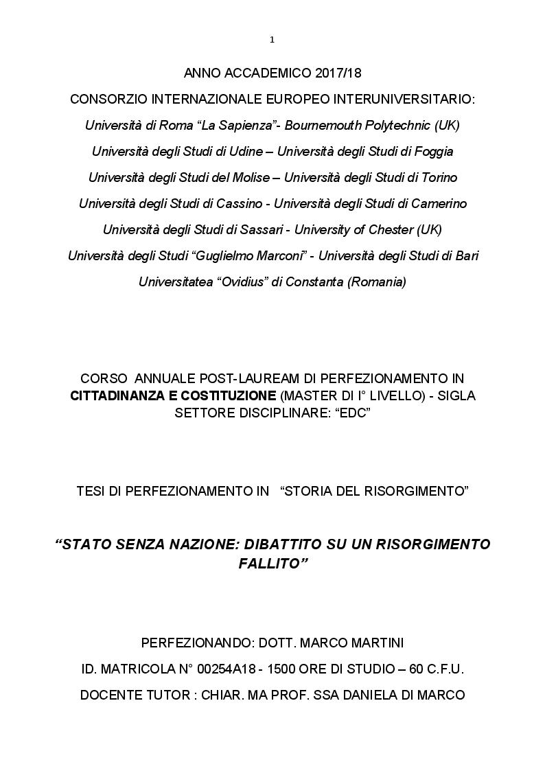 Anteprima della tesi: Stato senza nazione: dibattito su un Risorgimento fallito, Pagina 1