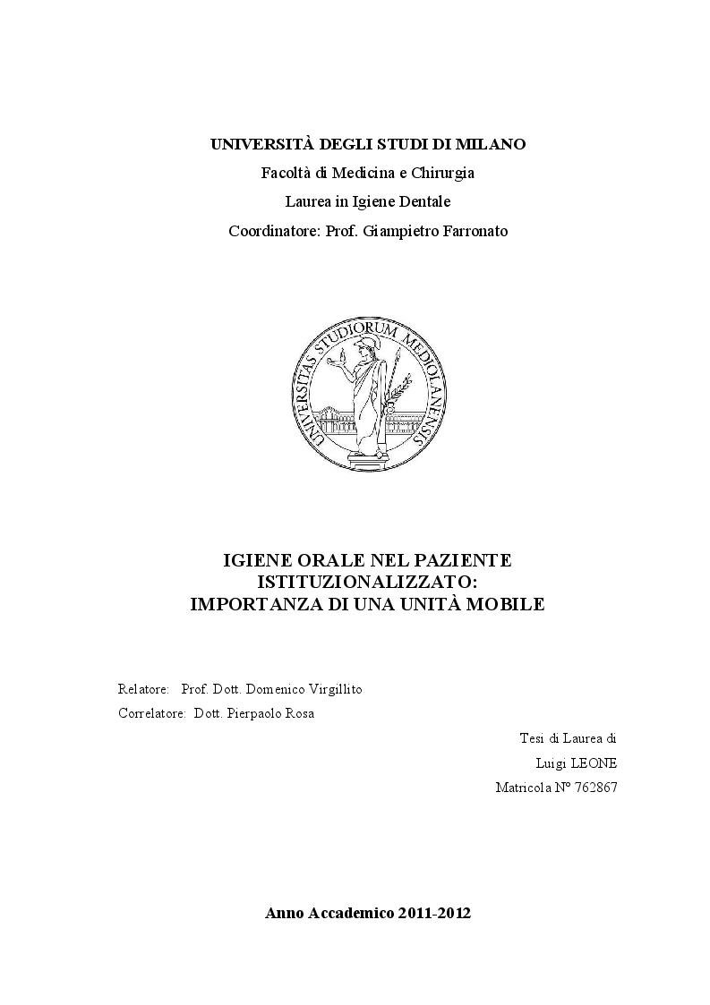 Anteprima della tesi: Igiene orale nel paziente istituzionalizzato: importanza di una unità mobile, Pagina 1