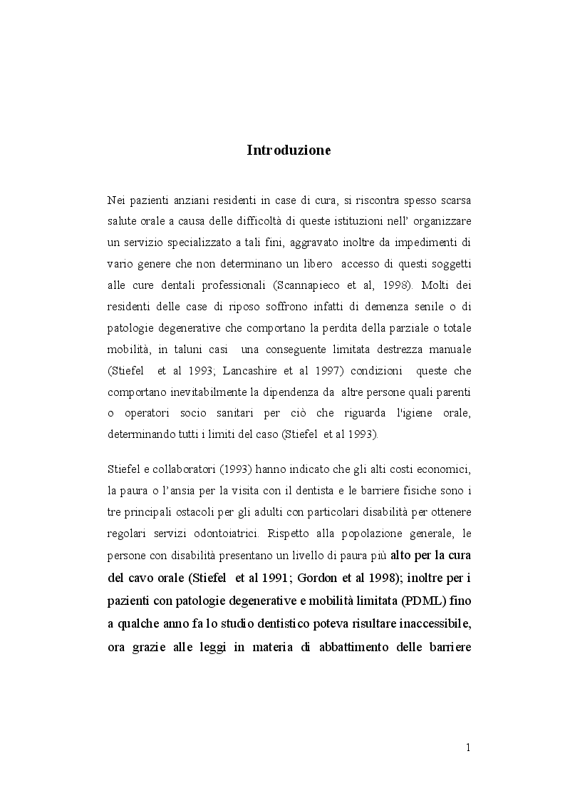 Anteprima della tesi: Igiene orale nel paziente istituzionalizzato: importanza di una unità mobile, Pagina 2