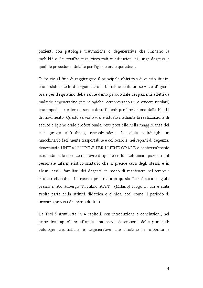 Anteprima della tesi: Igiene orale nel paziente istituzionalizzato: importanza di una unità mobile, Pagina 5