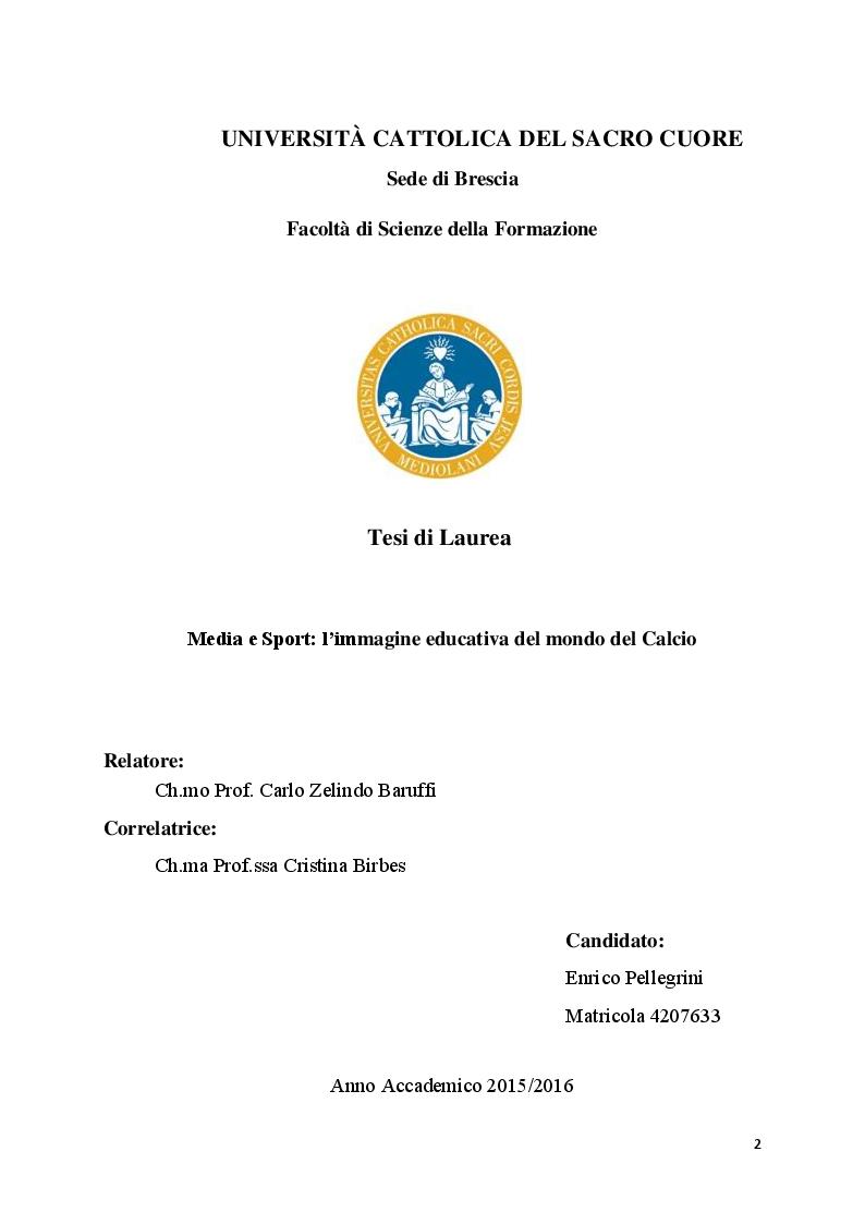 Anteprima della tesi: Media e Sport: l'immagine educativa del mondo del Calcio, Pagina 1